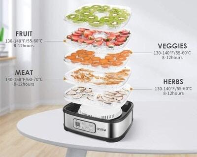 bandejas y capacidad de un deshidratador de alimentos